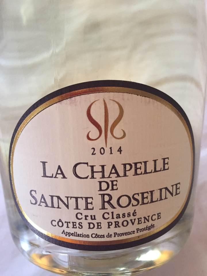 La Chapelle de Sainte Roseline 2014 – Côtes de Provence – Cru Classé