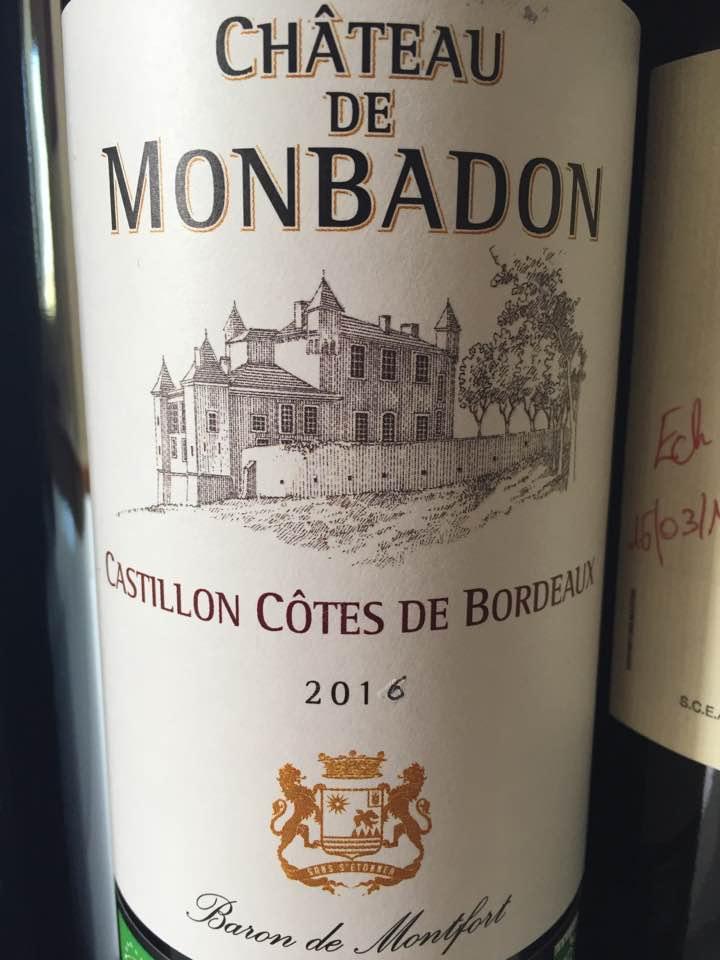 Château de Monbadon 2016 – Castillon Côtes de Bordeaux