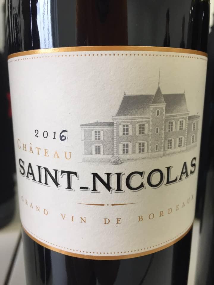Château Saint-Nicolas 2016 – Bordeaux Supérieur