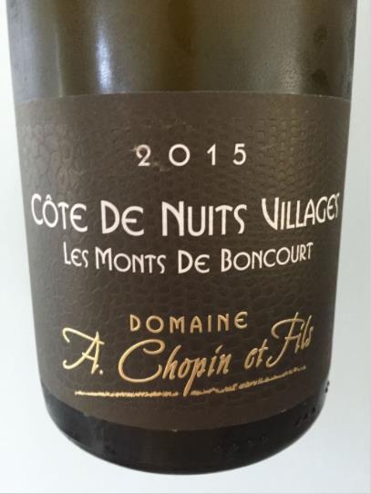Domaine A. Chopin & Fils – Les Monts de Boncourt 2015 – Côte de Nuits Villages