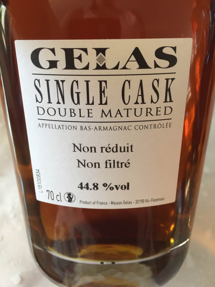 Gelas – Single Cask – Double Matured – Amigne Mitis – 12 ans – Bas-Armagnac