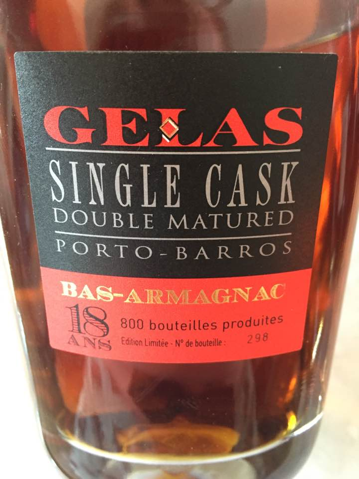 Gelas – Single Cask – Double Matured – Porto-Barros – 18 ans – Bas-Armagnac
