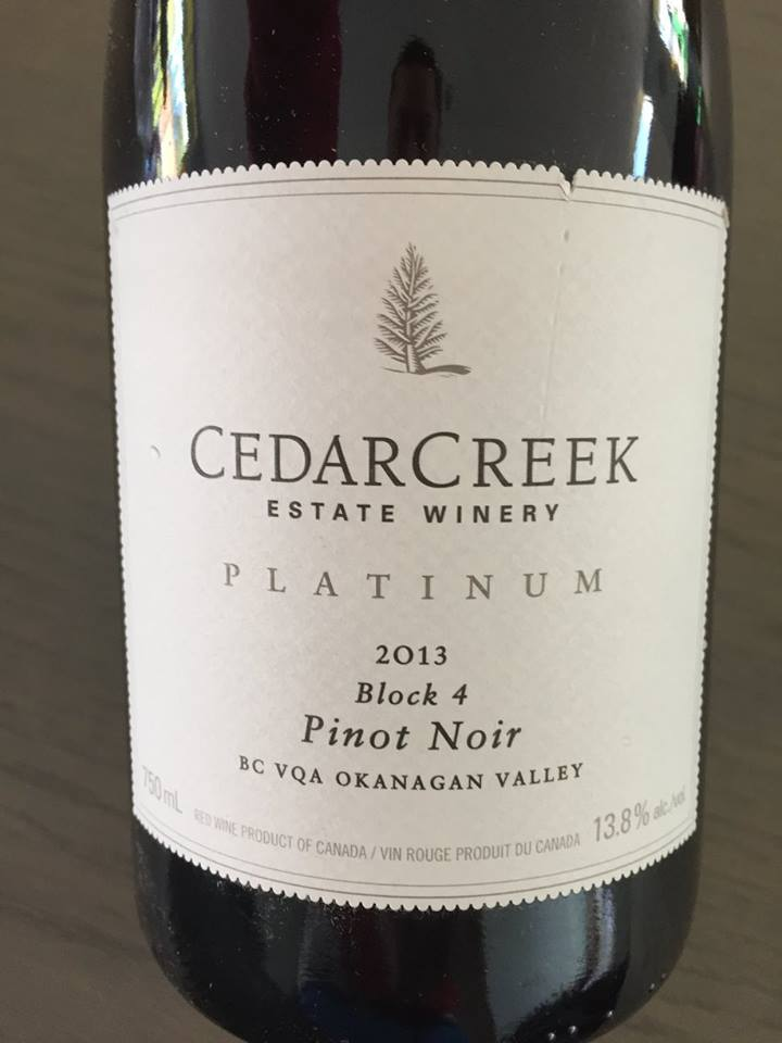 Cedar Creek Estate Winery – Platinum – Pinot Noir 2013 Block 4 – BC VQA Okanagan Valley