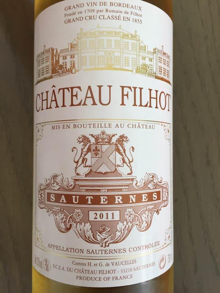 Château Filhot 2011 – Sauternes, 2ème Grand Cru Classé