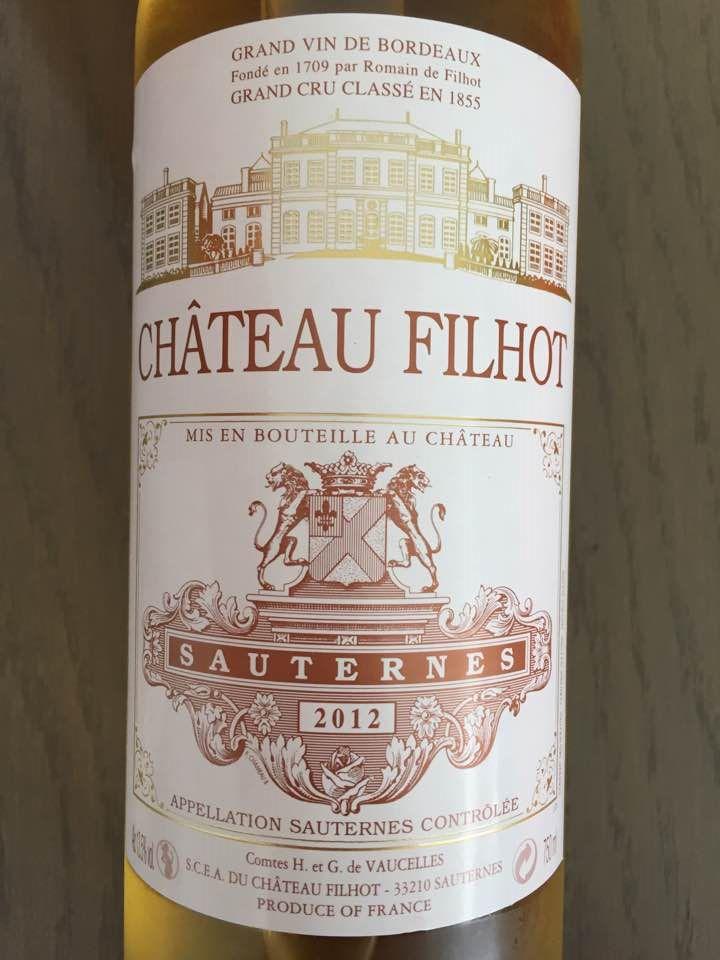 Château Filhot 2012 – Sauternes, 2ème Grand Cru Classé
