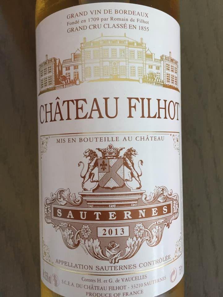 Château Filhot 2013 – Sauternes, 2ème Grand Cru Classé
