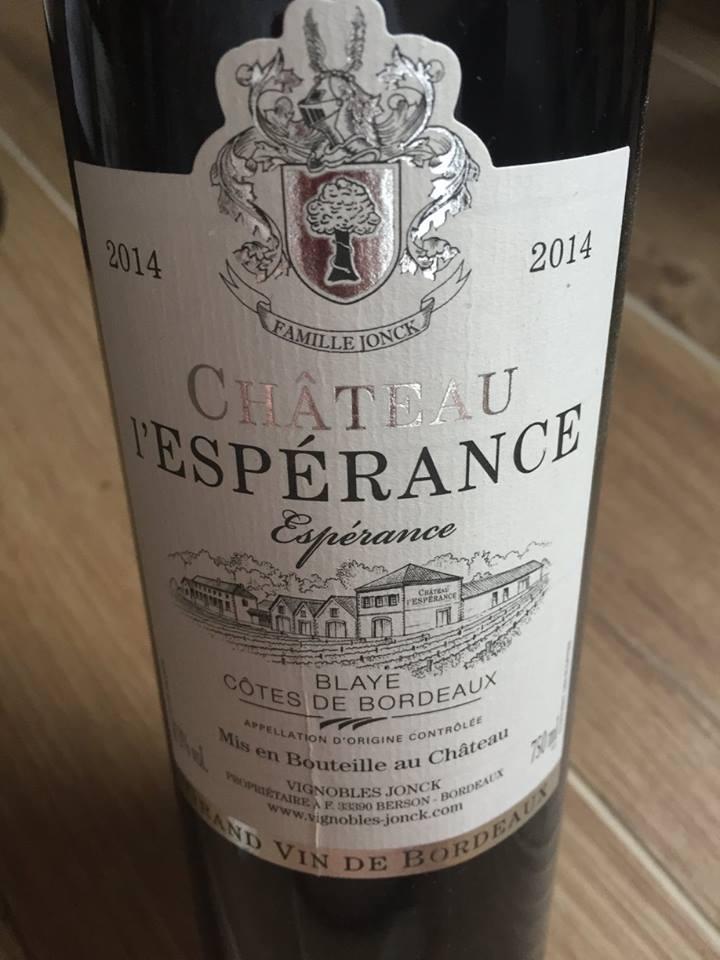Château L'Espérance – Espérance 2014 – Blaye Côtes de Bordeaux