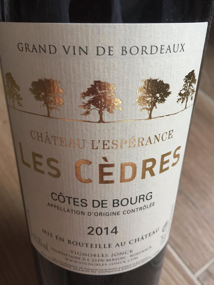 Château L'espérance – Les Cèdres 2014 – Côtes de Bourg