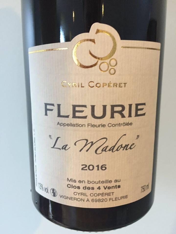 Cyril Copéret – La Madone 2016 – Fleurie