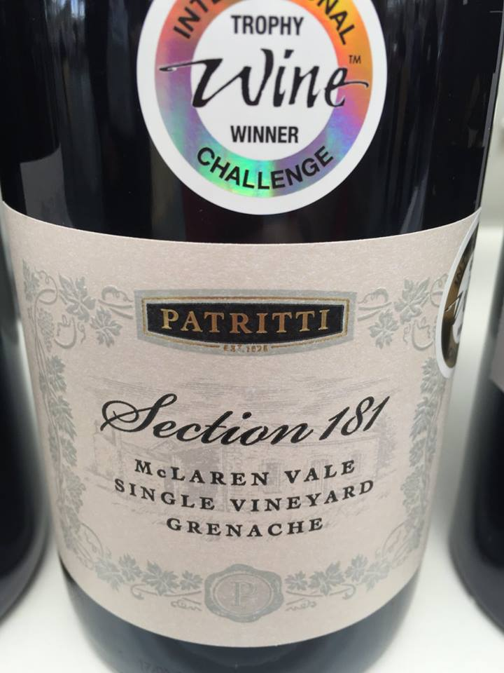 Patritti – Section 181 – Grenache 2015 – Single Vineyard – McLaren Vale – Australia