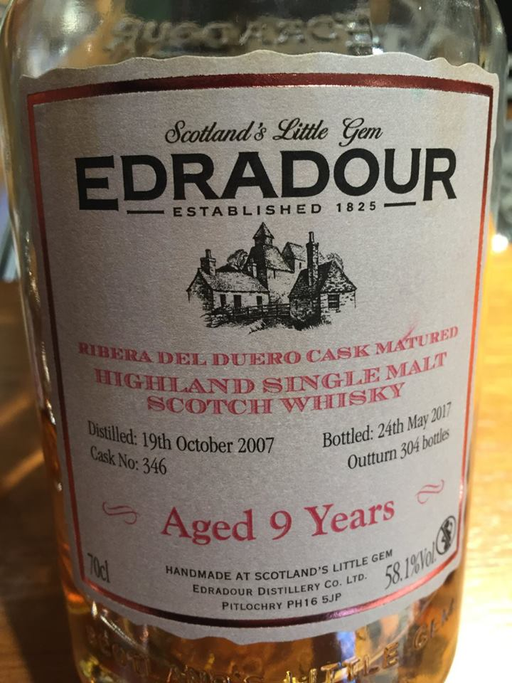 Edradour – Aged 9 Years – Ribera Del Duero Cask Matured – Highland, Single Malt – Scotch Whisky