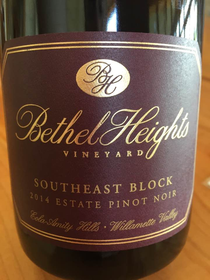 Bethel Heights Vineyard – Southeast block 2014 Estate Pinot Noir – Eola-Amity Hills – Willamette Valley