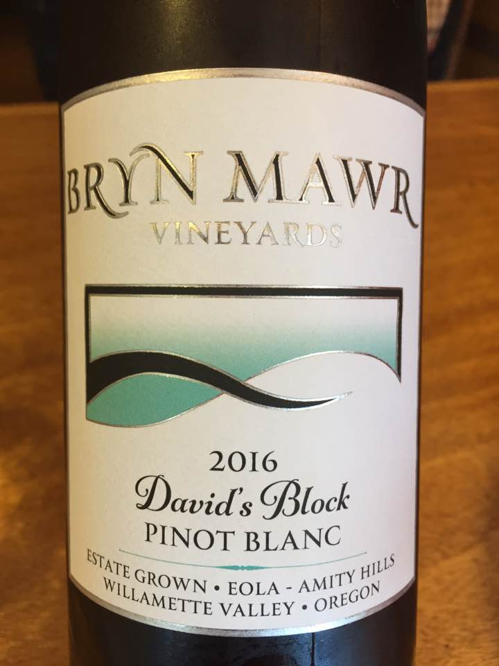 Bryn Mawr Vineyard – David's Block Pinot Blanc 2016 – Eola Amity Hills – Willamette Valley