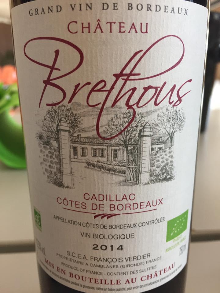 Château Brethous 2014 – Cadillac Côtes de Bordeaux
