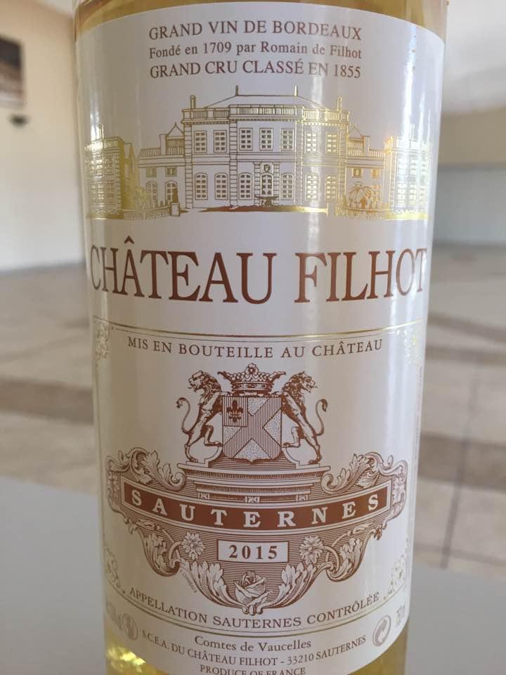 Château Filhot 2015 – Sauternes, 2ème Grand Cru Classé