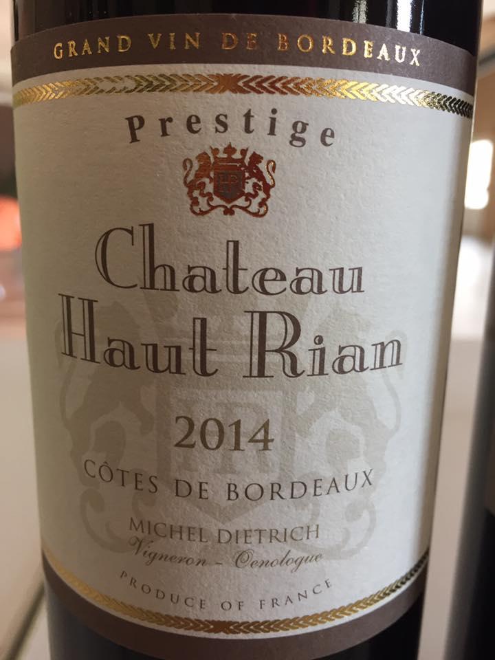 Château Haut-Rian – Prestige 2014 – Côtes de Bordeaux