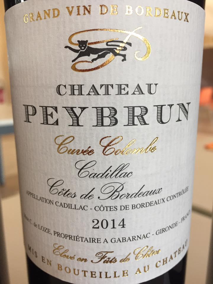 Château Peybrun – Cuvée Colombe 2014 – Cadillac Côtes de Bordeaux