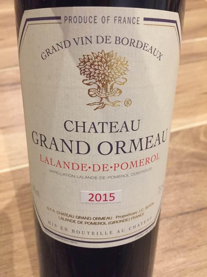 Château du Grand Ormeau 2015 – Lalande-de-Pomerol
