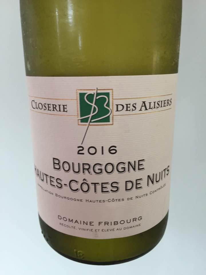 Closerie des Alisters – Domaine Fribourg 2016 – Bourgogne Hautes-Côtes de Nuits