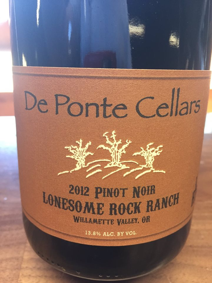 De Ponte Cellars – 2012 Pinot Noir Lonesome Rock Ranch – Willamette Valley