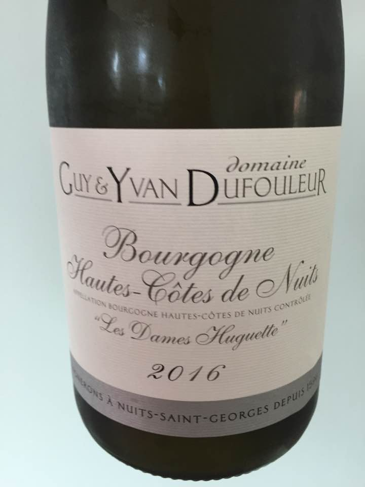 Domaine Guy & Yvan Dufouleur – Les Dames Huguette 2016 – Bourgogne Hautes-Côtes de Nuits
