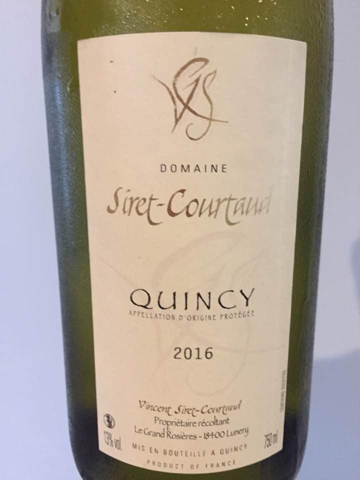 Domaine Siret-Courtaud 2016 – Quincy