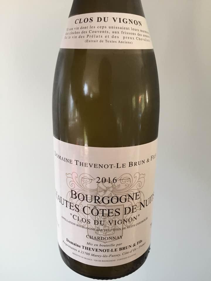 Domaine Thevenot-Le Brun & Fils – Clos du Vignon 2016 – Chardonnay – Bourgogne Hautes-Cotes de Nuits