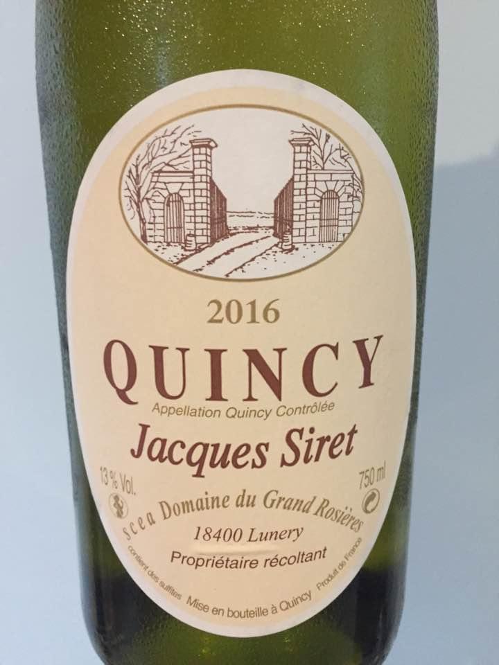 Domaine du Grand Rosières – Jacques Siret 2016 – Quincy