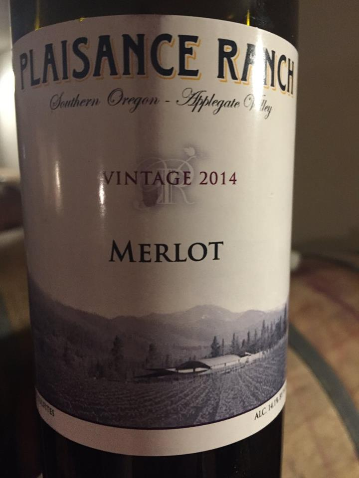 Plaisance Ranch – Vintage 2014 Merlot – Applegate Valley, Southern Oregon