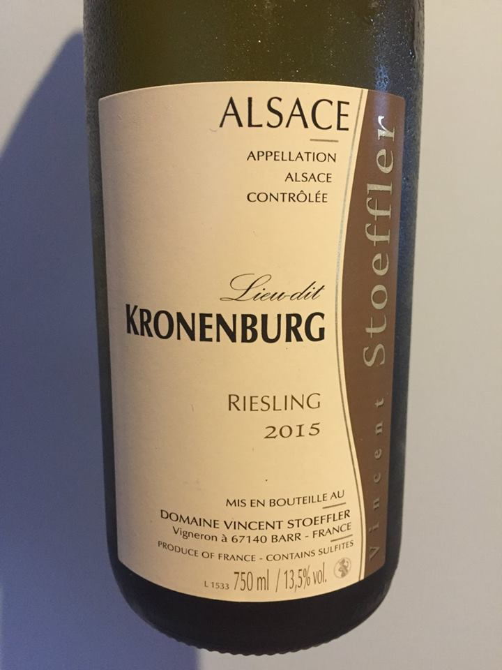 Vincent Stoeffler – Riesling 2015 – Lieu-dit Kronenburg – Alsace