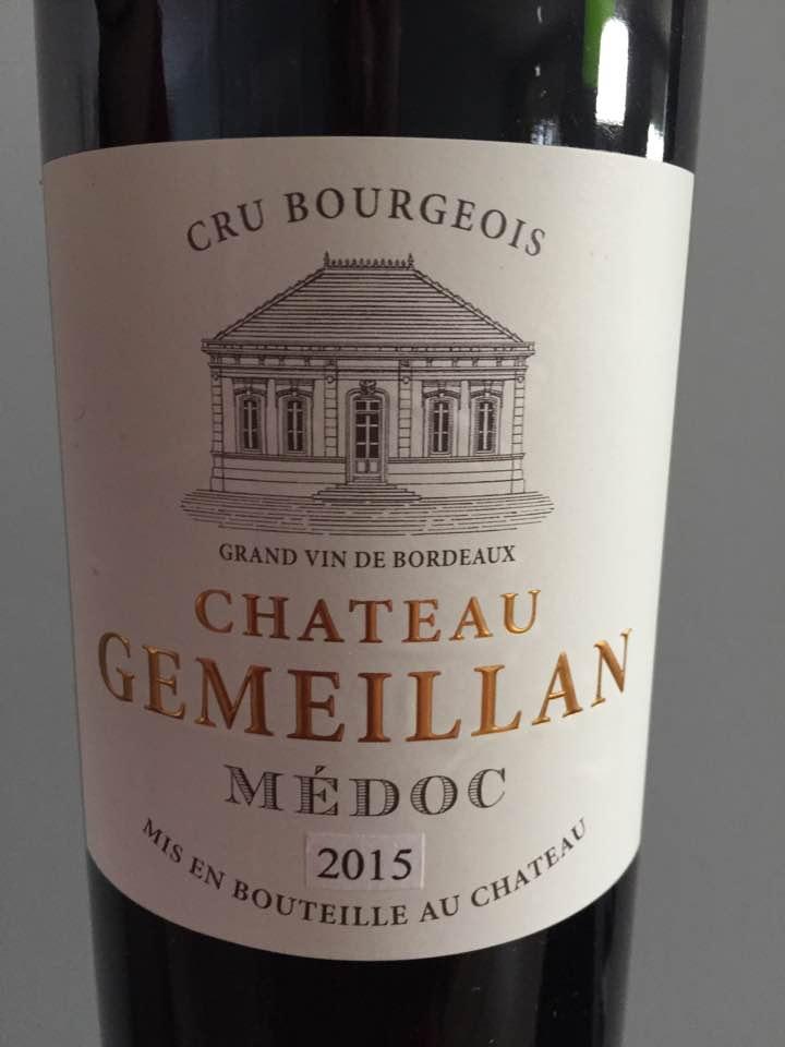 Château Gemeillan 2015 – Médoc – Cru Bourgeois