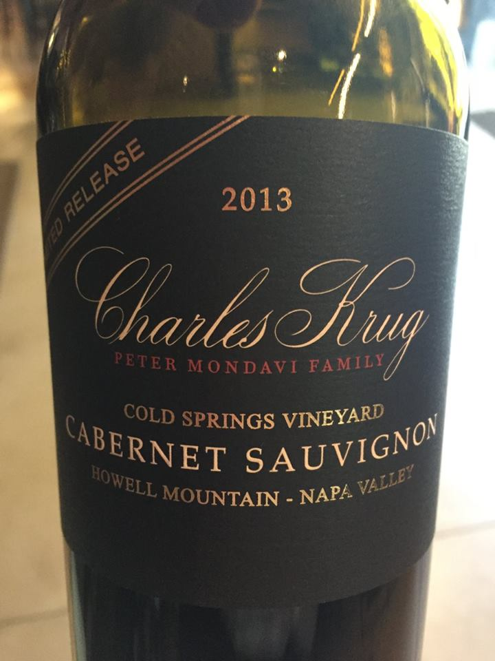 Charles Krug – Cabernet Sauvignon Cold Springs Vineyard 2013 – Napa Valley