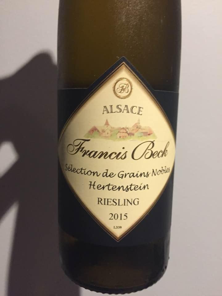 Francis Beck – Riesling 2015 – Sélection de Grains Nobles – Alsace