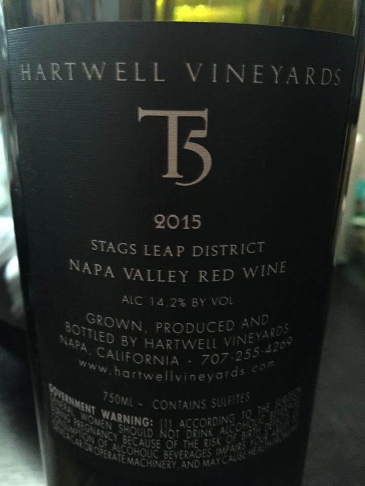 Hartwell Vineyard – T5 Cabernet Sauvignon 2015 – Stags Leap District – Napa Valley