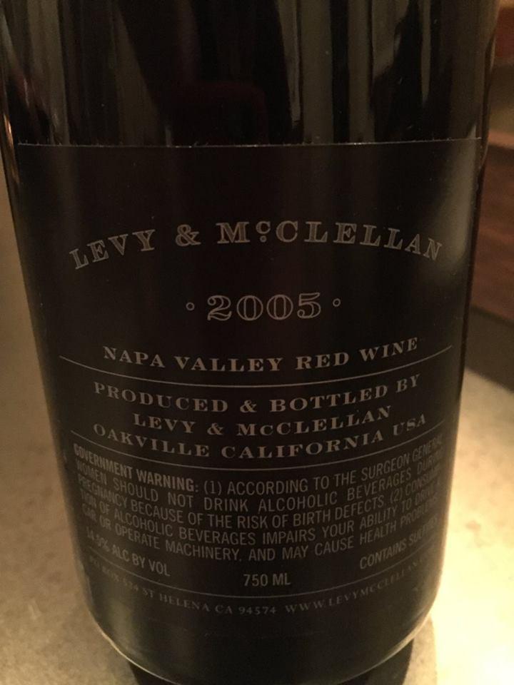 Levy & Mc Clellan 2005 – Napa Valley