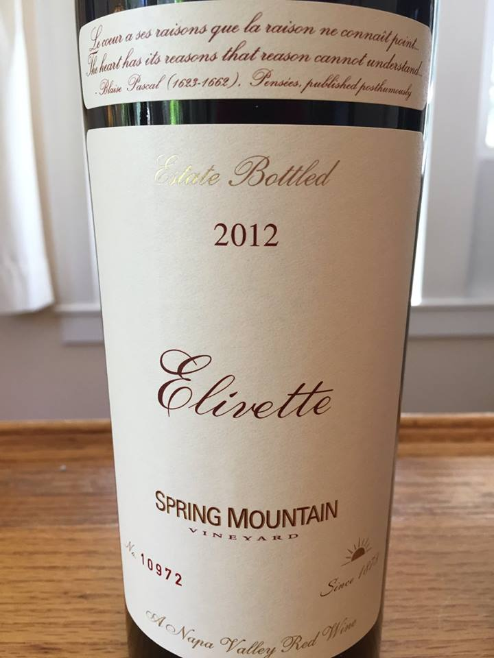 Spring Mountain Vineyard – Elivette 2012 – Napa Valley