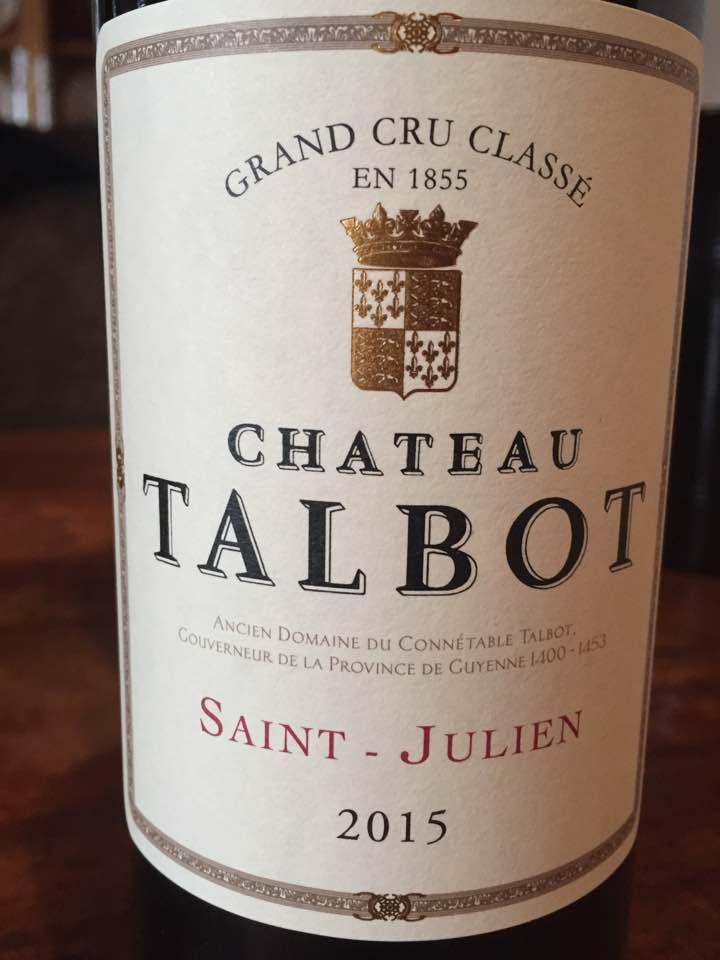 Château Talbot 2015 – Saint-Julien, 4ème Cru Classé