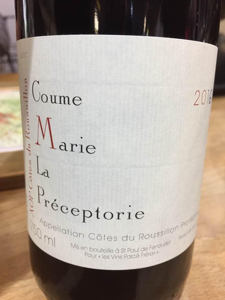 Domaine de la Préceptorie – Coume Marie 2016– AOC Côtes du Roussillon