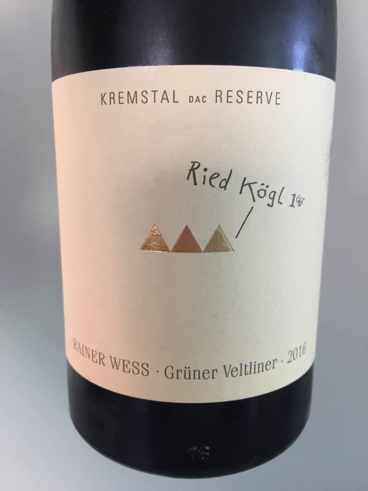 Rainer Wess – Grüner Veltliner 2016 Steiner Kögl 1.ÖTW. – Kremstal DAC Rerserve