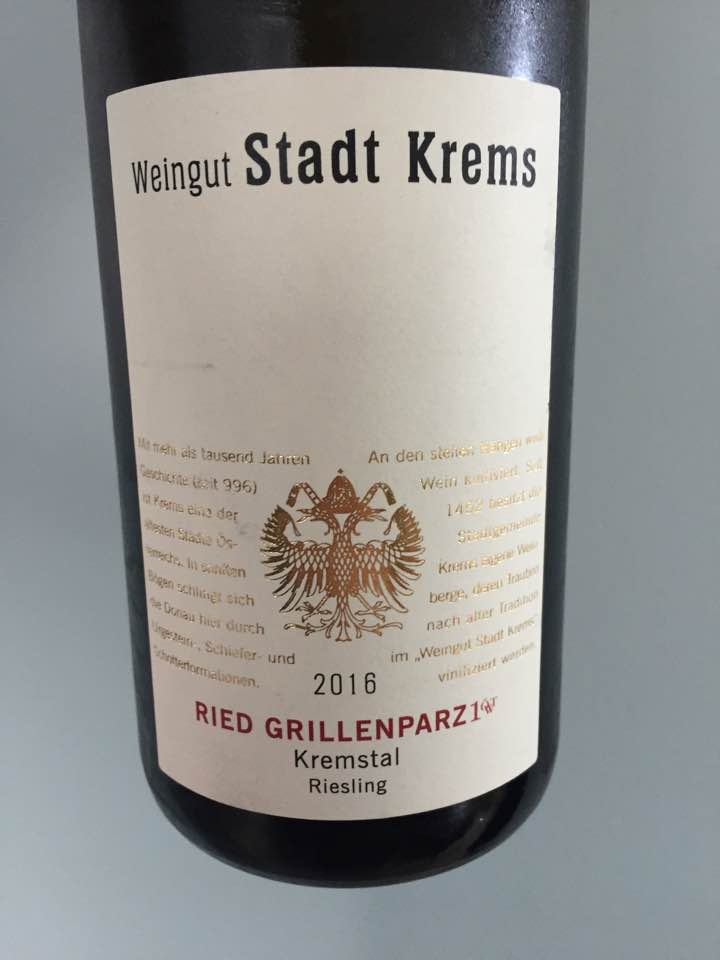 Weingut Stadt Krems – Riesling 2016 Ried Grillenparz 1ÖT.W – Kremstal