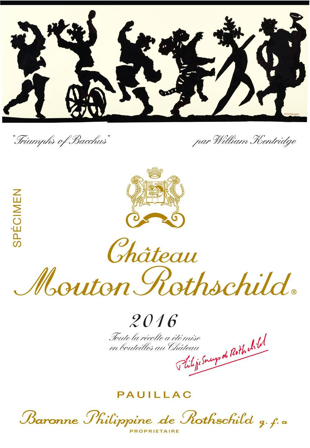 William Kentridge illustrates Mouton Rothschild 2016 label