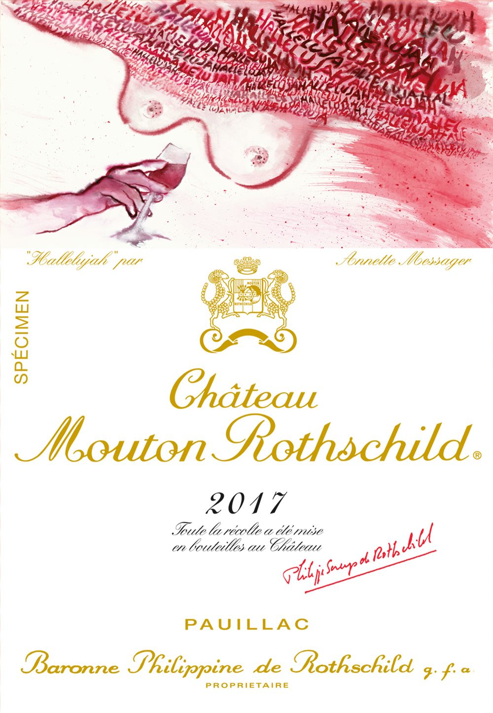 Annette Messager illustrates the label of 2017 Château Mouton Rothschild